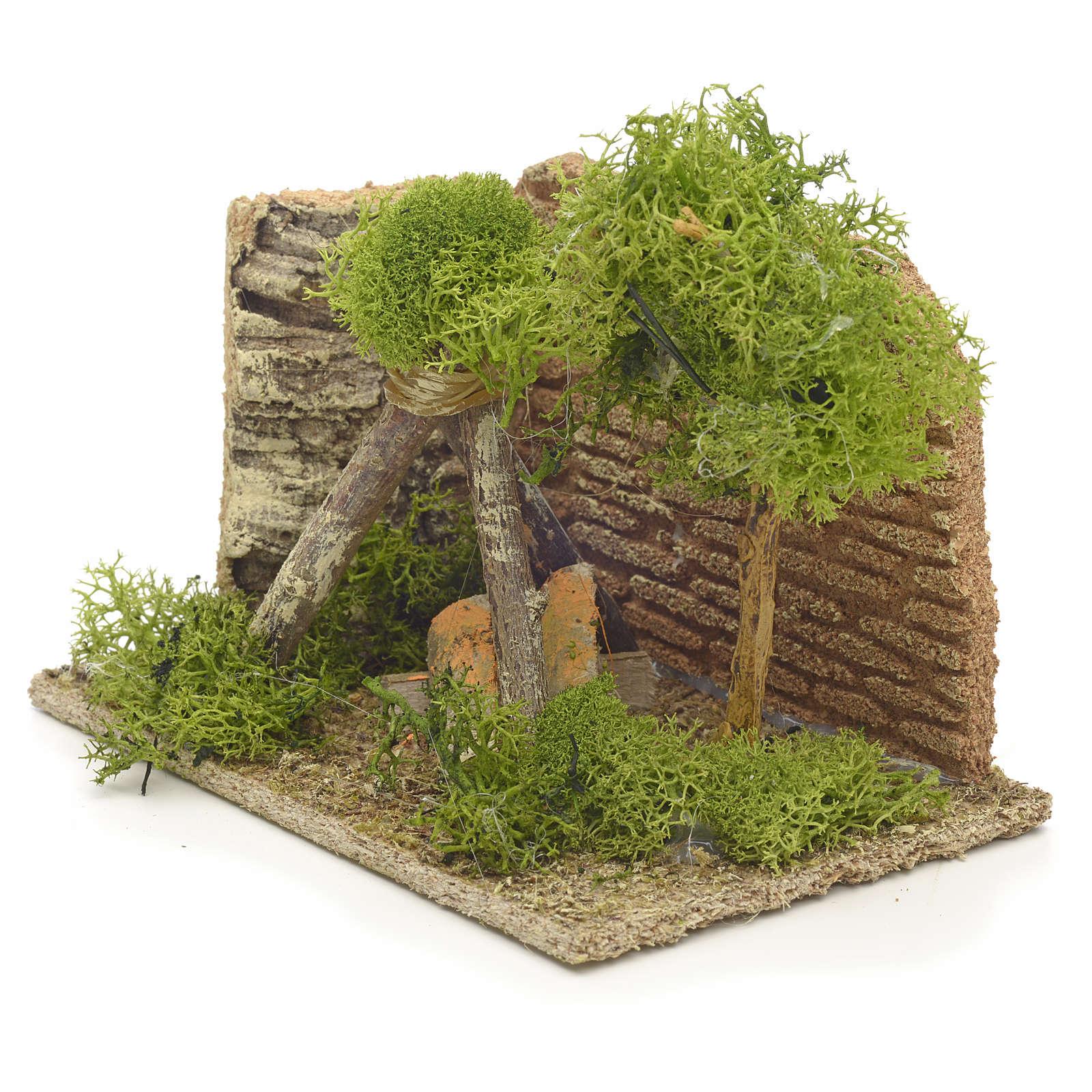 Nativity setting, tripod fire pit, 9x14x9cm 4