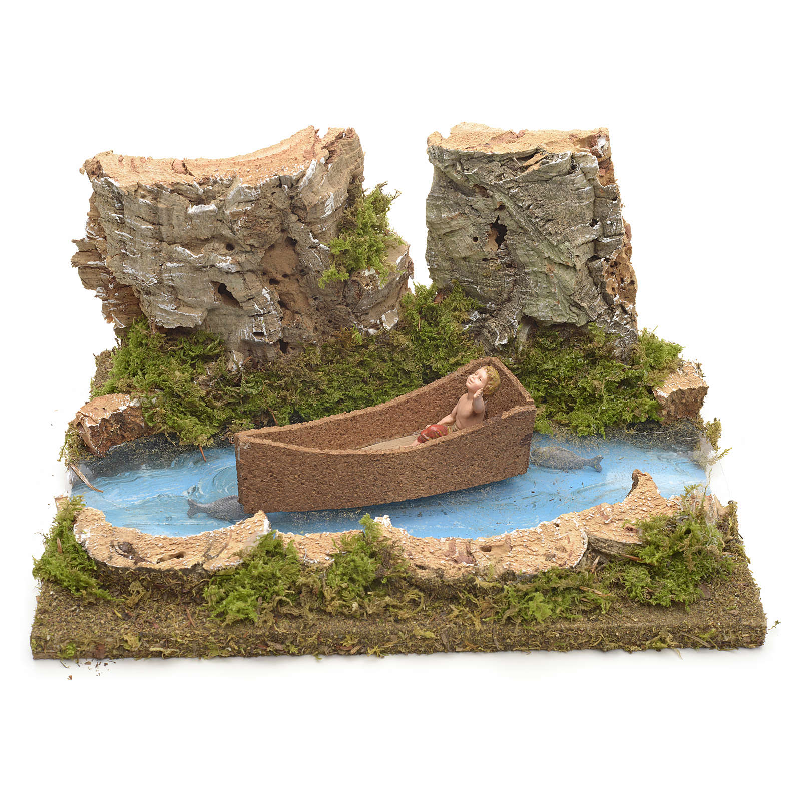 Ambientazione presepe fiume con bimbo su barca 4