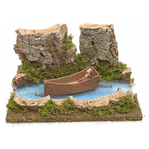 Ambientazione presepe fiume con bimbo su barca 1