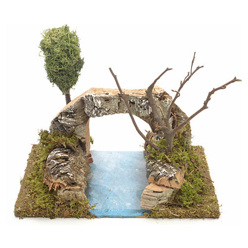 Nativity setting, river with arch in cork 1