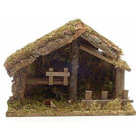 Casa pesebre en corcho con musgo y cerca 26x35x20 s1