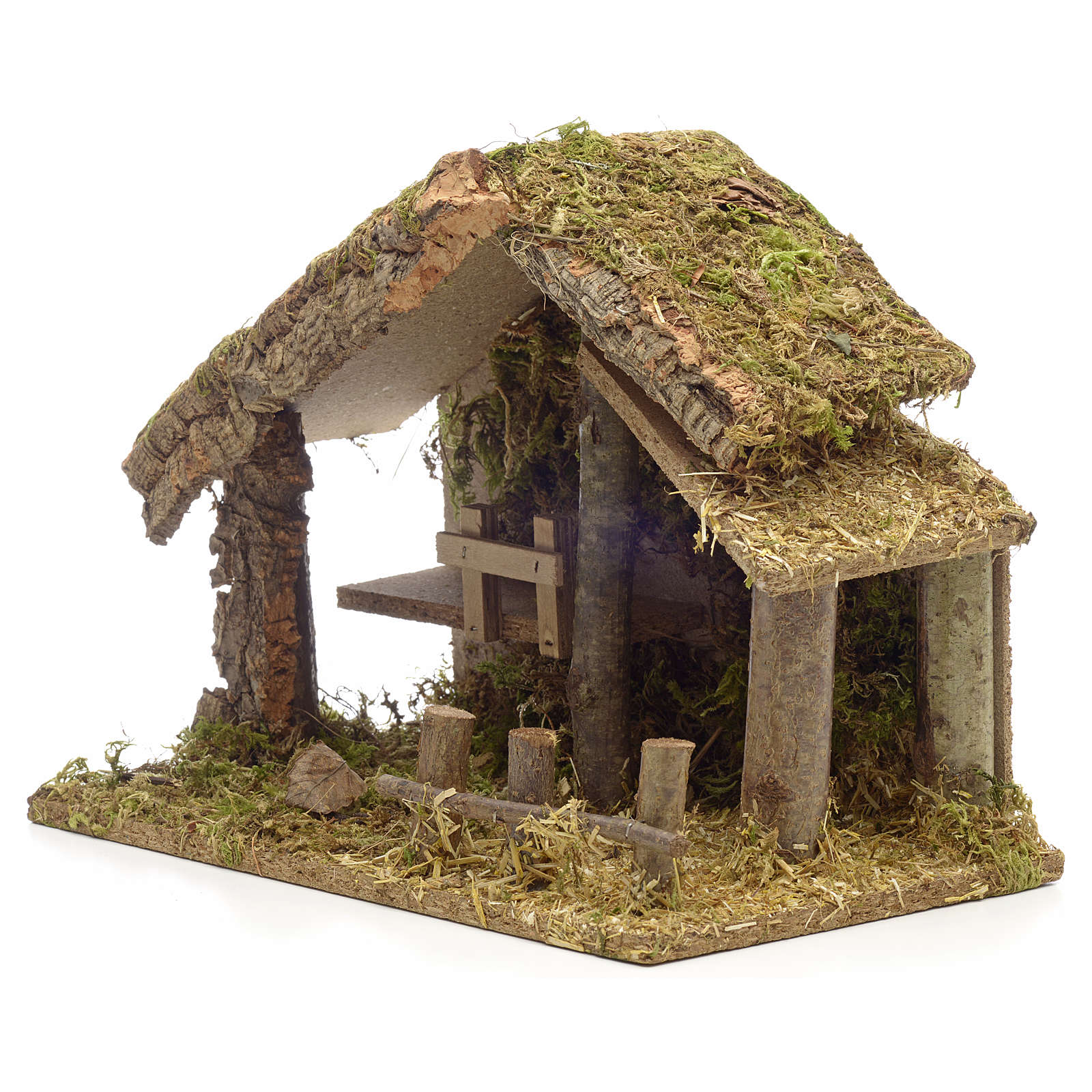 Nativity stable in cork with moss and barn 26x35x20cm 4
