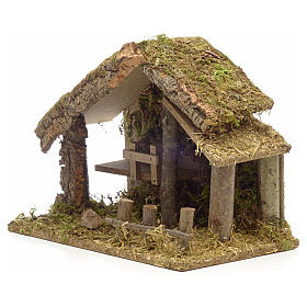 Nativity stable in cork with moss and barn 26x35x20cm s3
