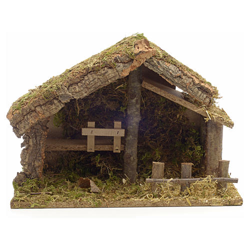 Nativity stable in cork with moss and barn 26x35x20cm 1