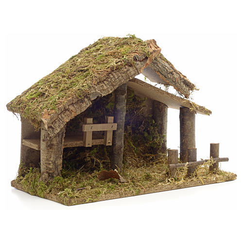 Nativity stable in cork with moss and barn 26x35x20cm 2