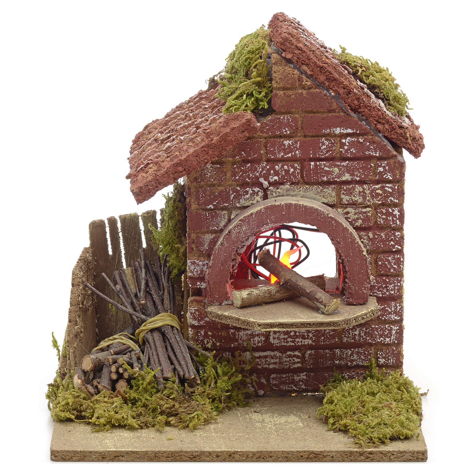 Nativity accessory, battery powered oven with bundles 16x14x14cm 4