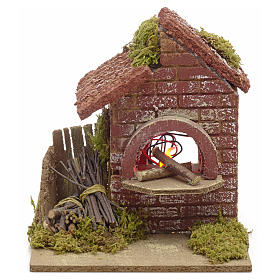 Nativity accessory, battery powered oven with bundles 16x14x14cm s1