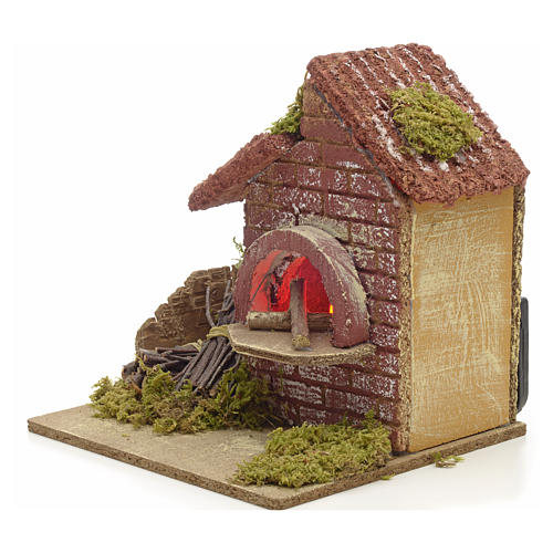 Nativity accessory, battery powered oven with bundles 16x14x14cm 2