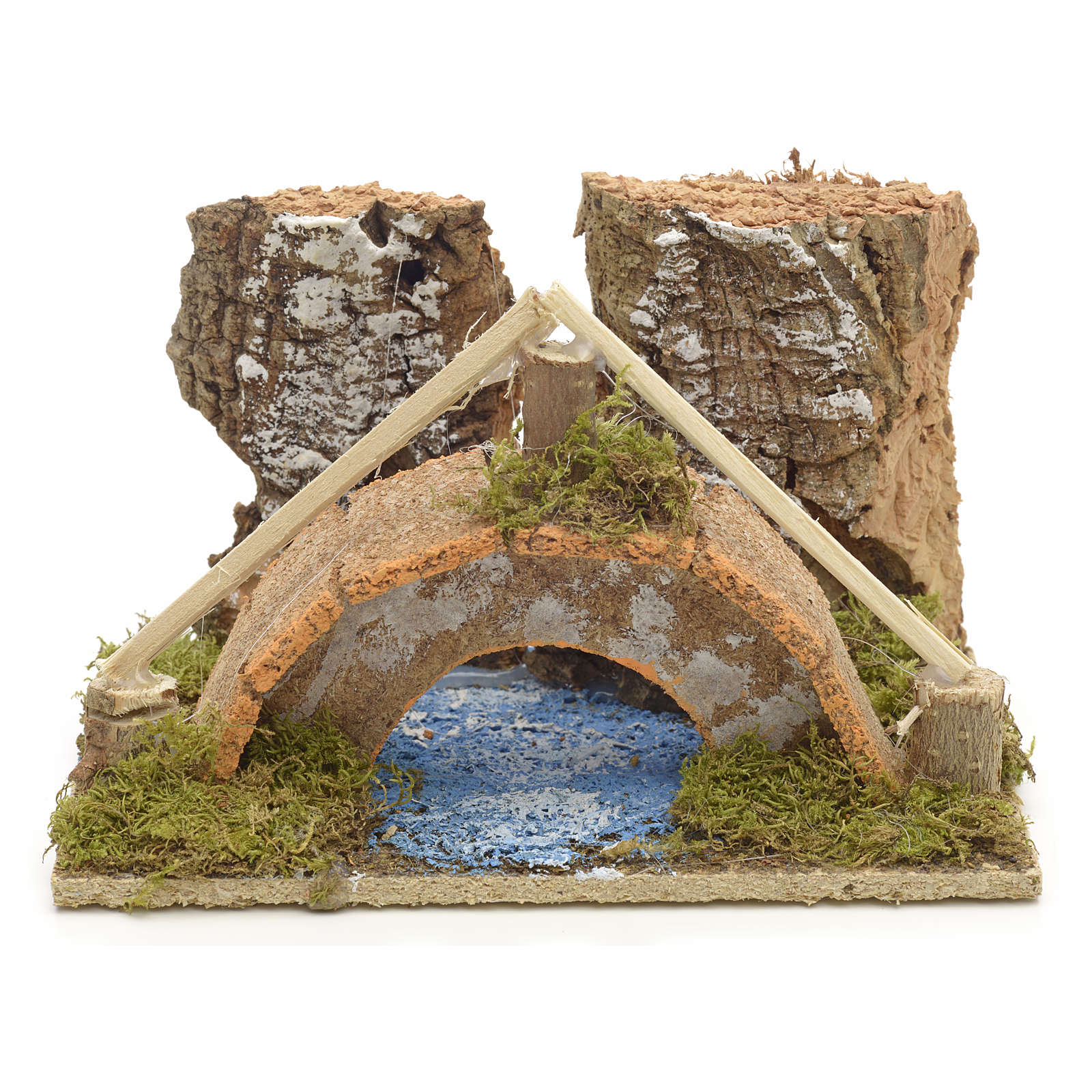 Nativity setting, arched bridge with canal 9x14x9cm 4