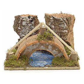 Nativity setting, arched bridge with canal 9x14x9cm s1