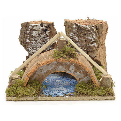 Nativity setting, arched bridge with canal 9x14x9cm 1