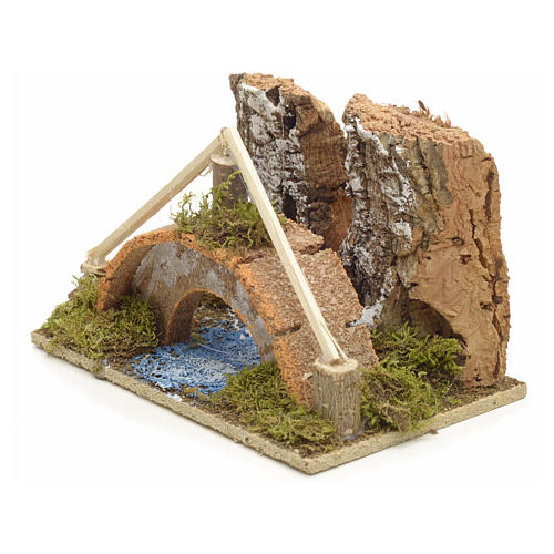 Nativity setting, arched bridge with canal 9x14x9cm 2