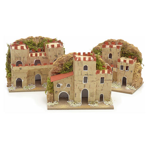 Nativity setting, houses in cardboard 8x10x6cm (3 different models) 1