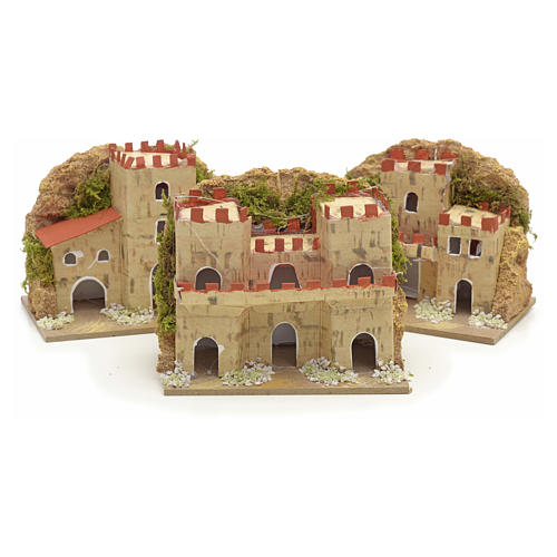 Nativity setting, houses in cardboard 8x10x6cm (3 different models) 2