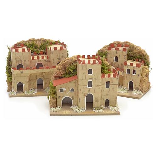 Maisons en miniature en carton pour crèche 8x10x6cm (assorties). 3 pièces 1