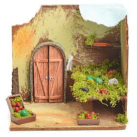 Décor crèche banc du marchand de légumes 20x14x19cm s1
