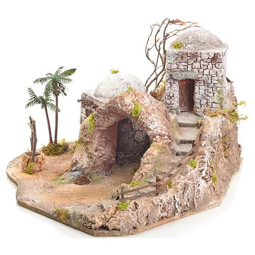 Grotta presepe illuminata stile arabo 42x40x40 2