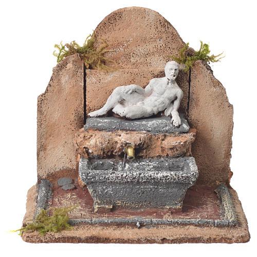 Fontana resina presepe stile romano 17x19x16 cm 7