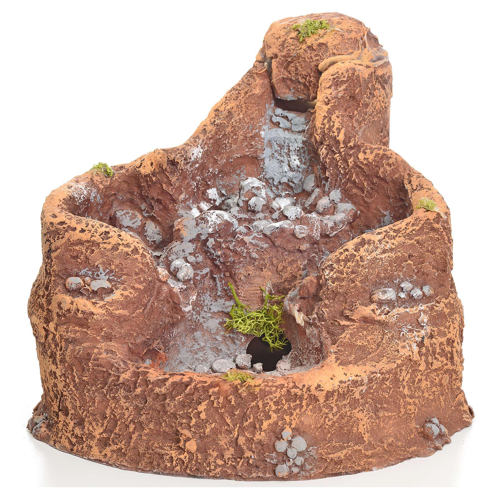 Laghetto in resina con cascata per presepe 16x18x15 cm 4