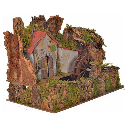 Nativity water mill with pump 33x18x25cm 2