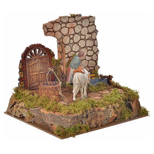 Nativity setting, drinking trough with pump and shepherd 10cm 2