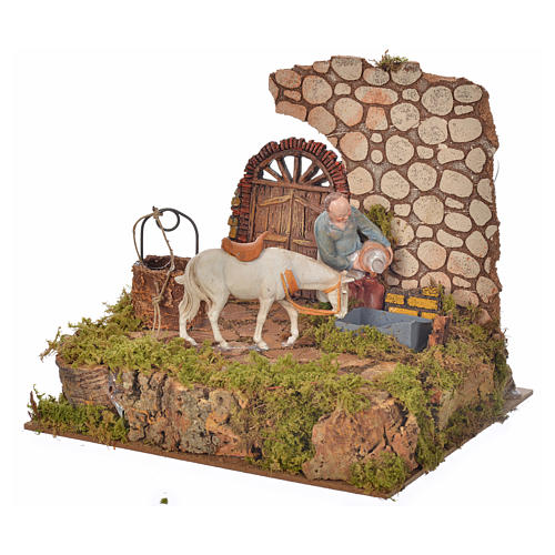 Nativity setting, drinking trough with pump and shepherd 10cm 3