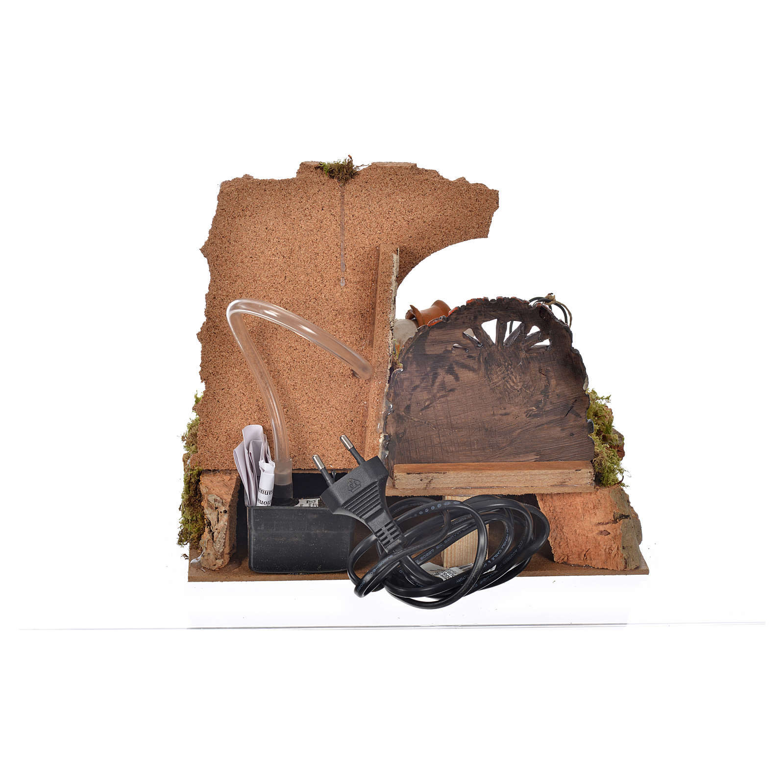 Nativity setting, drinking trough with pump and shepherd 10cm 4