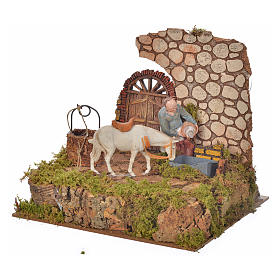 Nativity setting, drinking trough with pump and shepherd 10cm s3