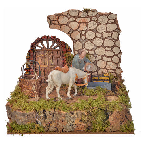 Nativity setting, drinking trough with pump and shepherd 10cm 1