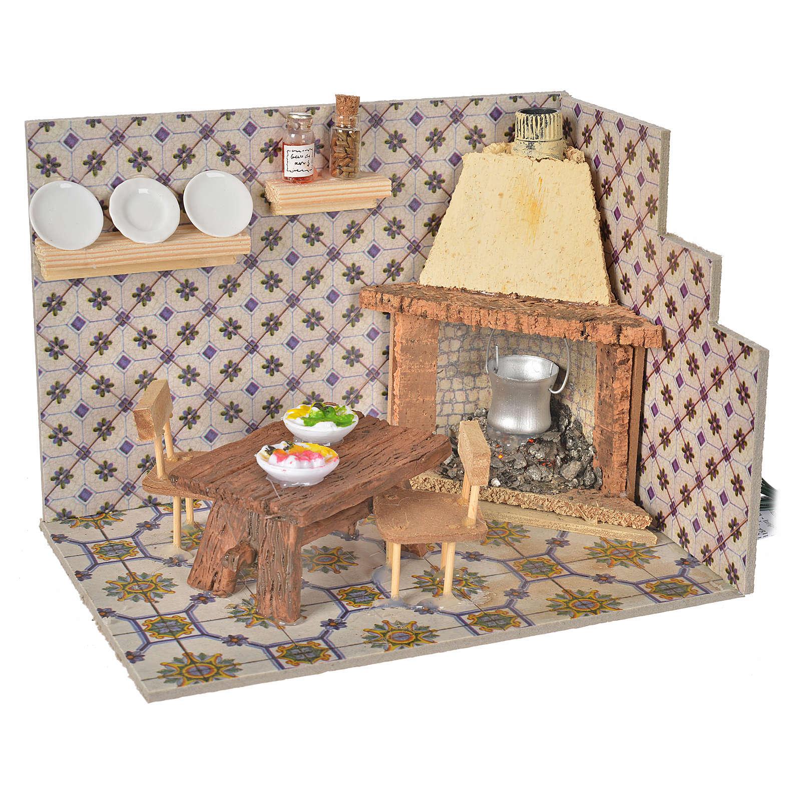 Nativity accessory, chimney, flickering flame effect 20x14x14,5c 4