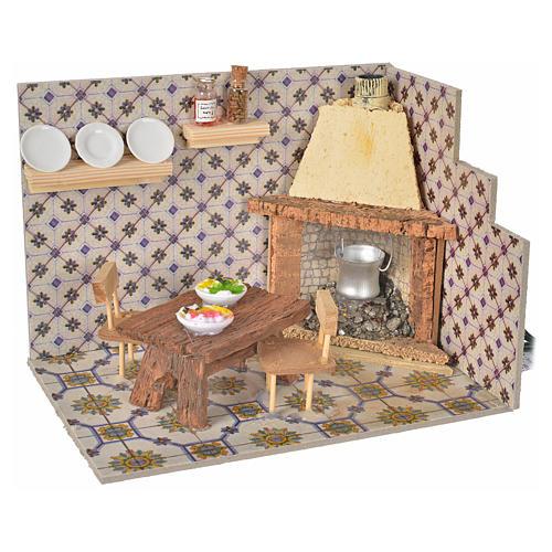 Nativity accessory, chimney, flickering flame effect 20x14x14,5c 1