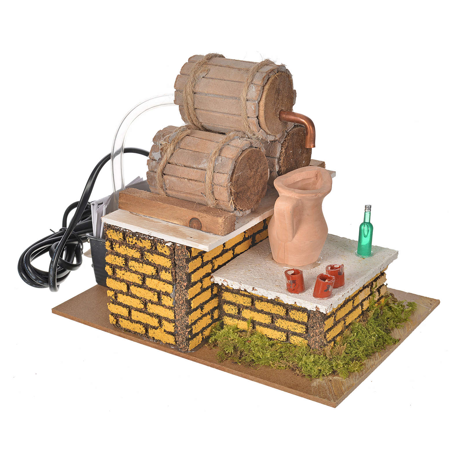 Nativity setting, moving tavern with casks 20x14x17cm 4