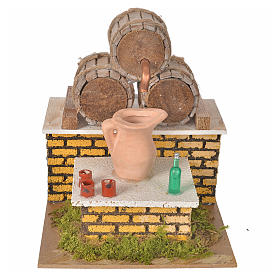Nativity setting, moving tavern with casks 20x14x17cm s1