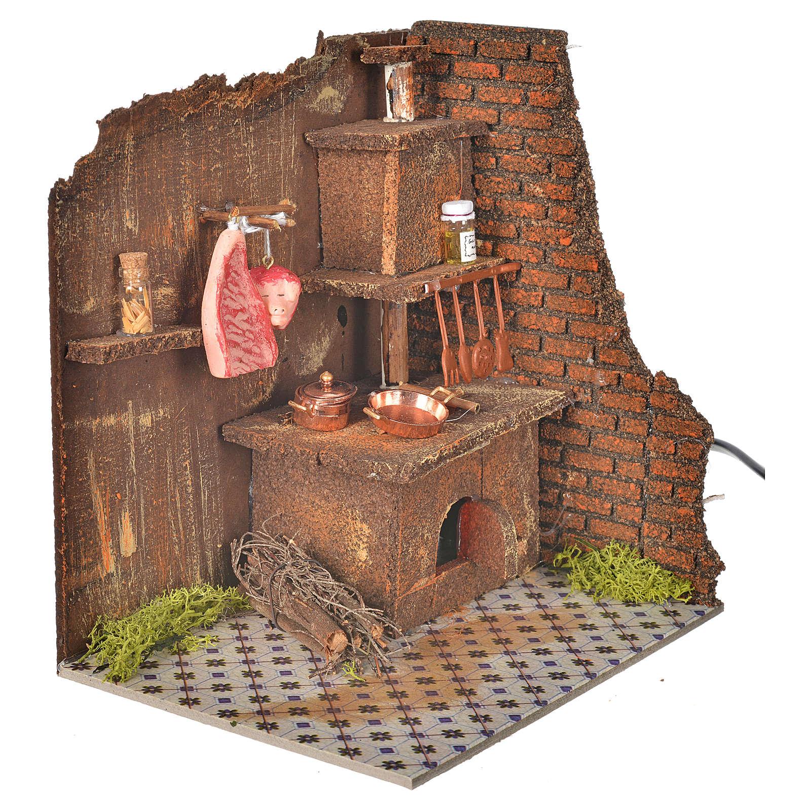 Cucina con lampada eff. fiamma cm 20x14 4