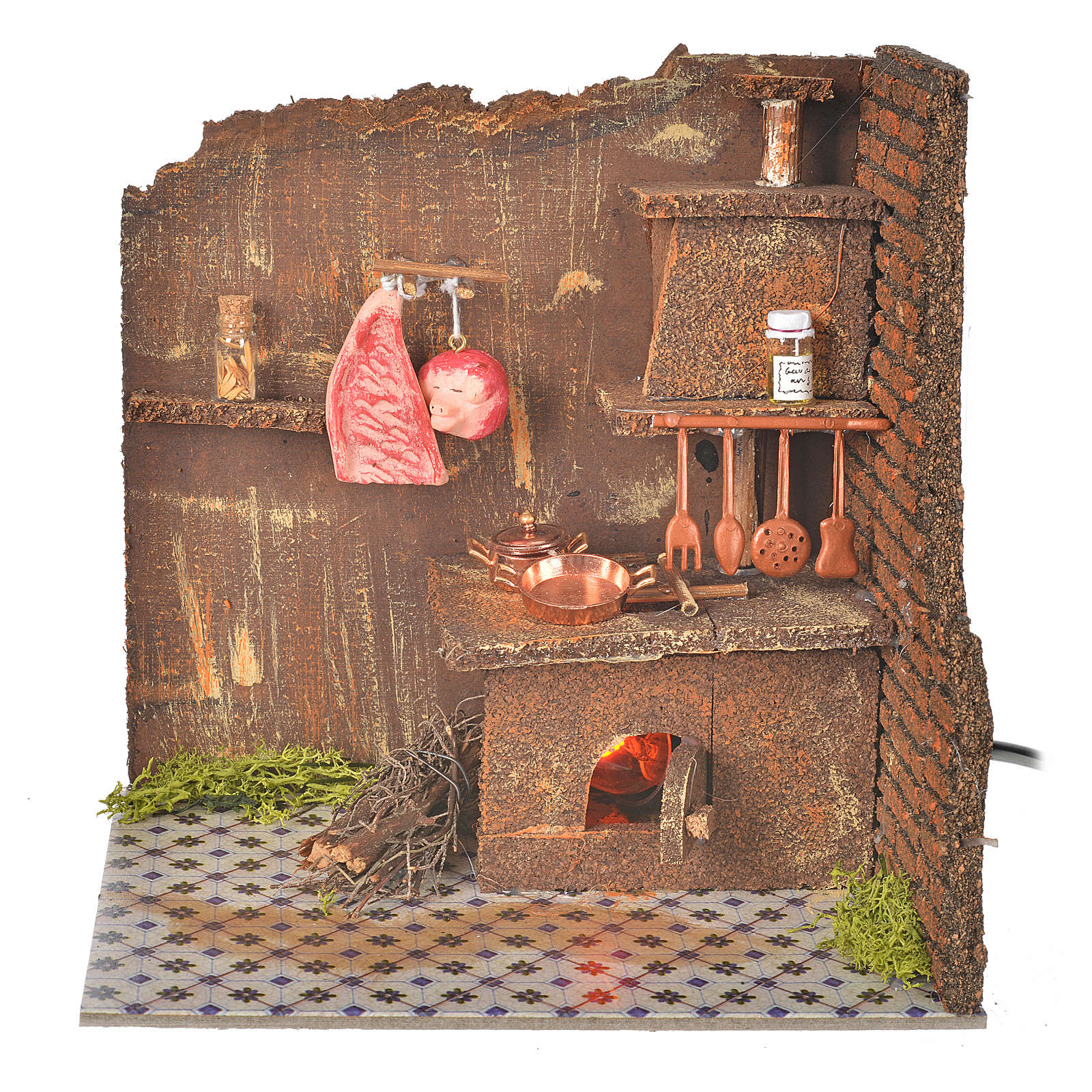 Nativity accessory, kitchen with flame effect bulb 20x14cm 4