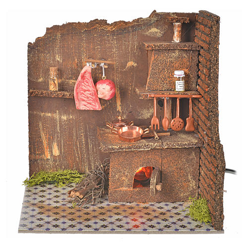 Nativity accessory, kitchen with flame effect bulb 20x14cm 1