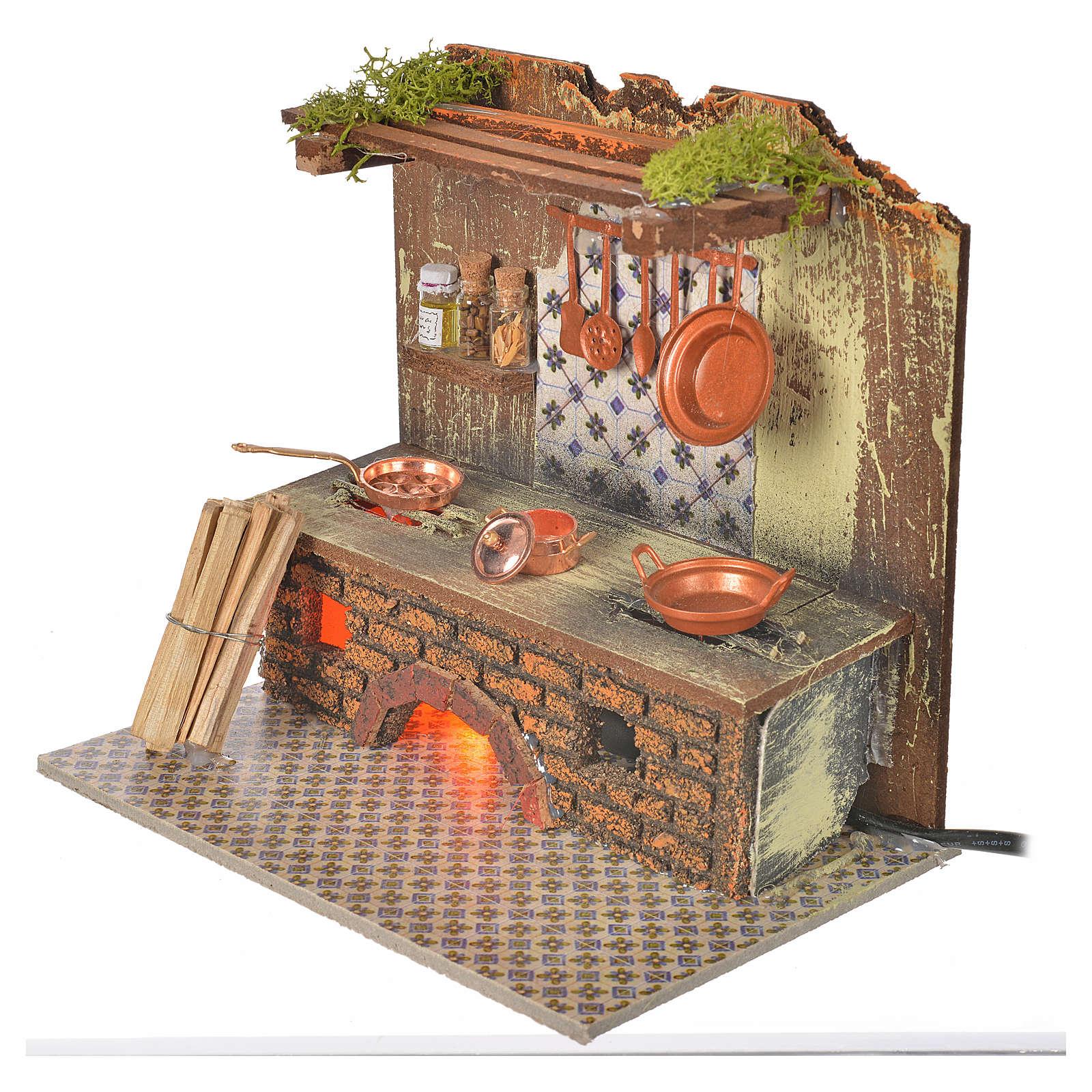 Cocina con bombilla efecto fuego y ollas cm. 20x14 4