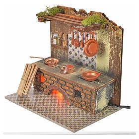 Cocina con bombilla efecto fuego y ollas cm. 20x14 s2