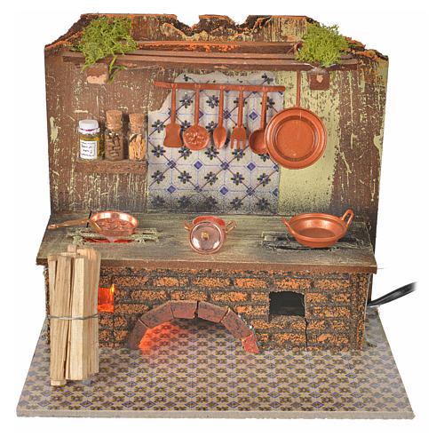 Nativity accessory, kitchen with flame effect and pans 20x14cm 1