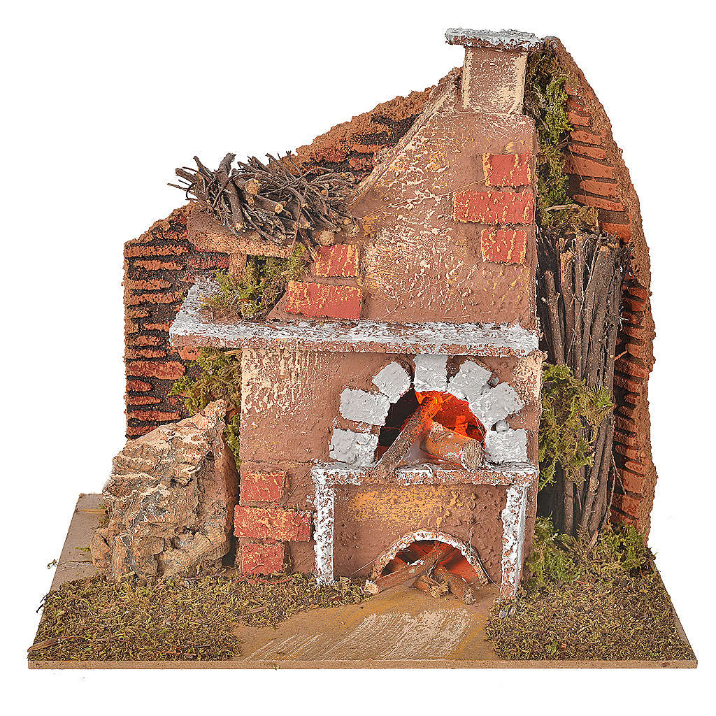 Nativity accessory, oven with light, flame effect 20x12x17cm 4