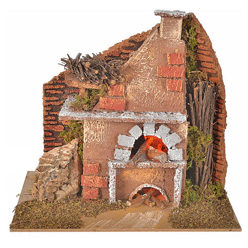 Nativity accessory, oven with light, flame effect 20x12x17cm 1