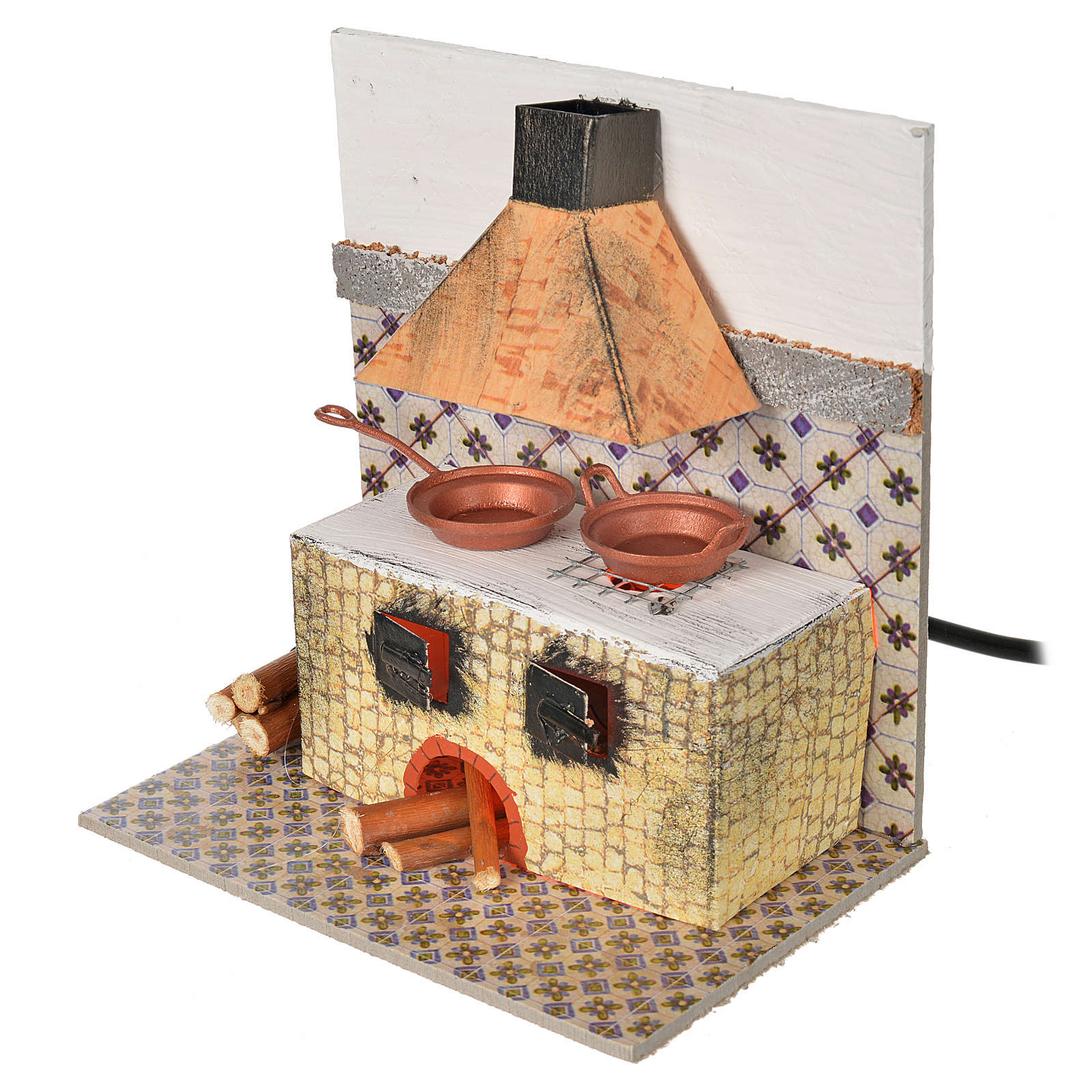 Nativity accessory, kitchen with flame effect bulb 15x10x15.5cm 4