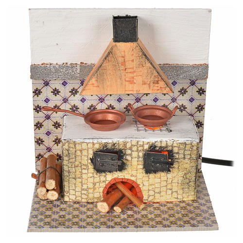Nativity accessory, kitchen with flame effect bulb 15x10x15.5cm 1