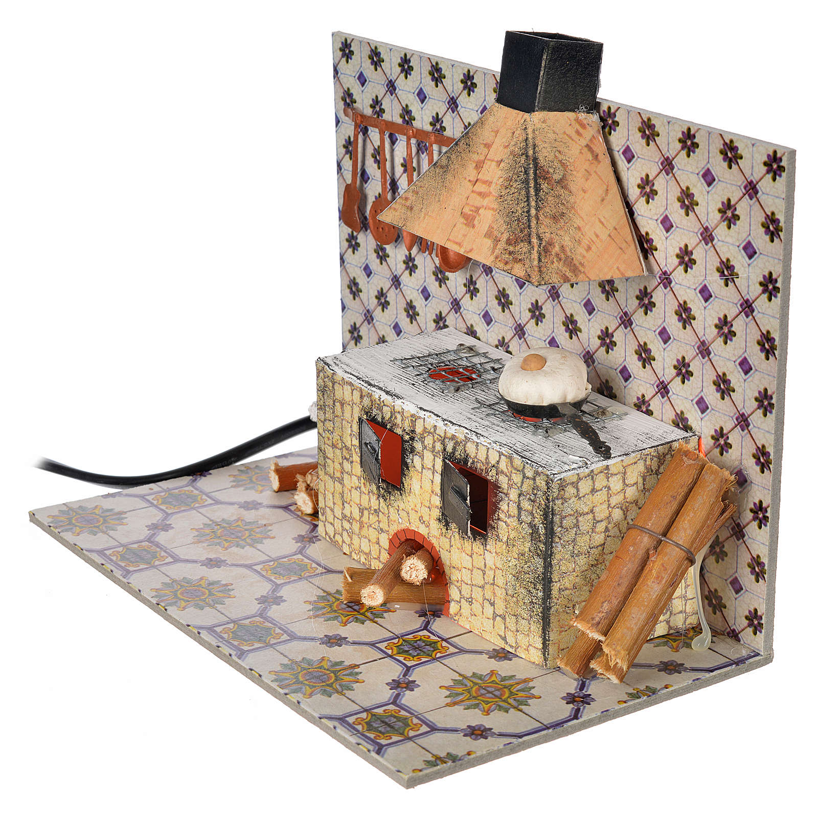 Nativity accessory, kitchen with flame effect 20x12x15.5cm 4
