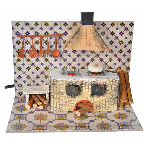 Nativity accessory, kitchen with flame effect 20x12x15.5cm 1
