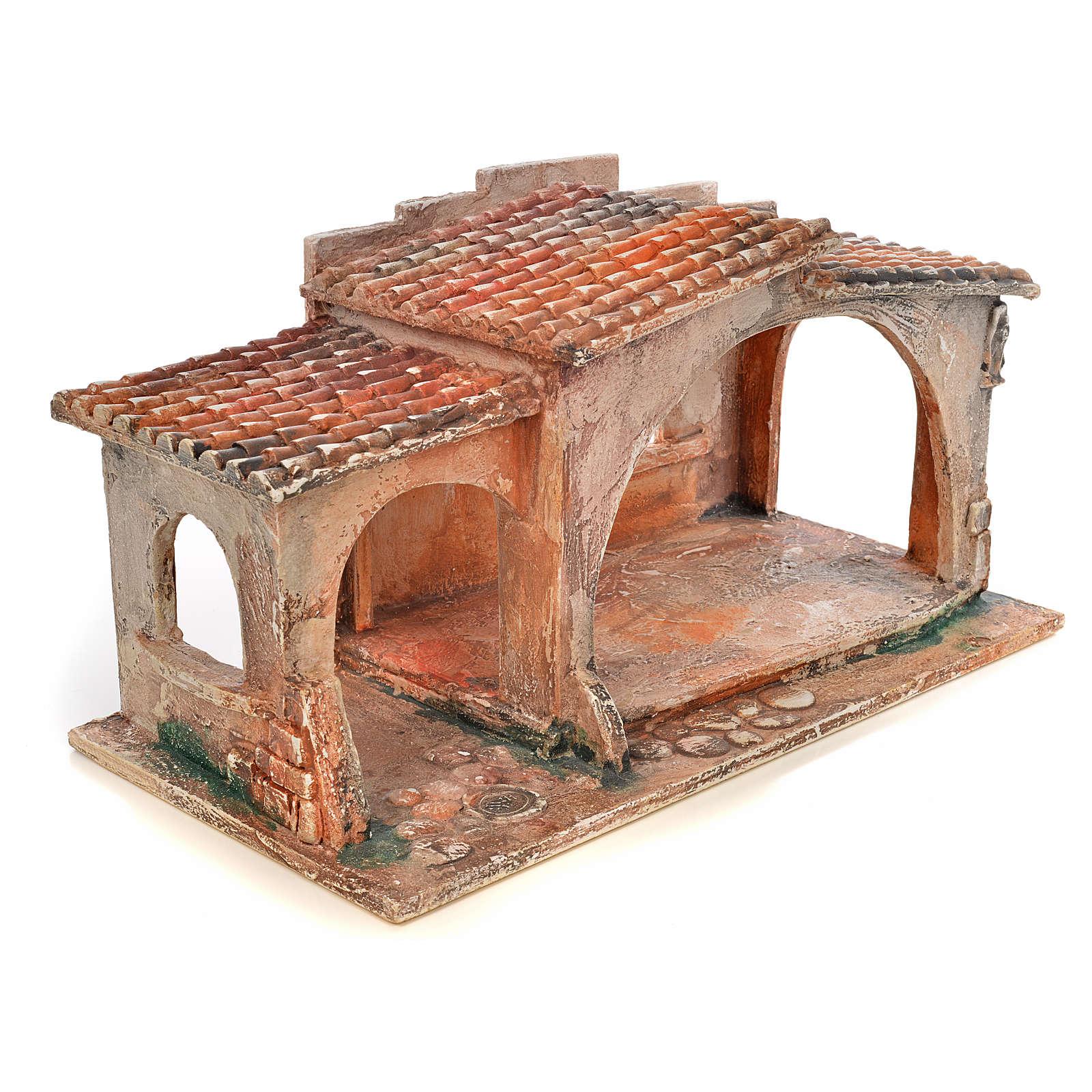 Étable avec toit en tuiles crèche Fontanini 12 cm 4