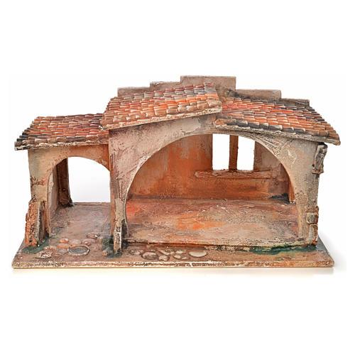 Étable avec toit en tuiles crèche Fontanini 12 cm 1
