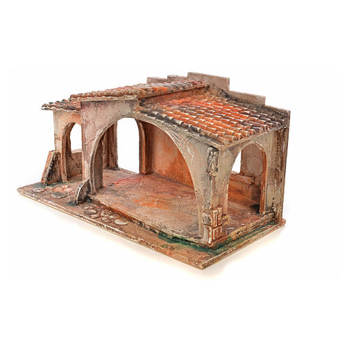 Étable avec toit en tuiles crèche Fontanini 12 cm 3