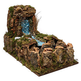Nativity setting, waterfall with stream and pump 60x34cm s4
