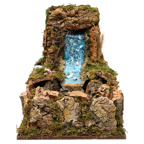 Nativity setting, waterfall with stream and pump 60x34cm 1